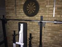 Olympic style weight set with squat rack