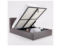 GET IT TODAY...New double gas lift storage ottoman bed in black and brown colours and mattress range