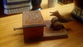 Vintage carved bird box cigarette dispenser