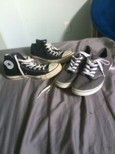Grey vans and original black converse