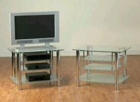 Tv unit clear and frosted glass