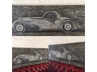Bugatti type57 Atalante 1937 55 X 150cm oil and acrylic on iron canvas