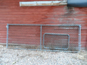 Chain link wire fence section and gate