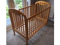 Wooden Cot with a drop side
