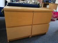 2 beech bedside tables