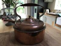 Copper kettle, jug and pans