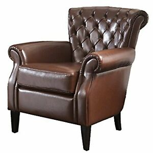 Franklin Bonded Leather Club Chair, Brown !!! IN THE BOX !!!