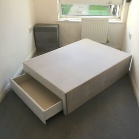 Divan double bed base with two drawers £45