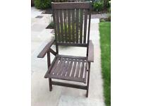 4 teak folding garden chairs with cushions