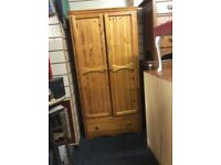 Solid pine wardrobe with drawer