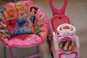 Disney princess ride on and chair, both in EXCELLENT condition
