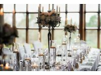 18 Glass Cylinder Vases, candles and 12 crackle tealight holders