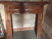 Period Oak Fireplace surround and mantle Carved dark wood. 25cm D x 260cm L x 137cm H