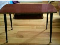 Vintage melamine side table with shelf and dansette style legs