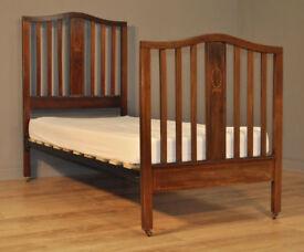 Attactive Tall Antique Edwardian Inlaid Mahogany Single Bed, New Base & Mattress