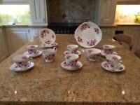 Beautiful Queen Anne tea set with matching sugar bowl, milk jug and cake plate.