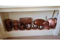 COLLECTION OF COPPER COOKING PANS