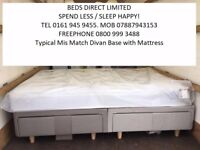 New, Small Double 3/4 Drawer Divan Bed with a Quality Mattress by Airsprung. FREE DELIVERY.