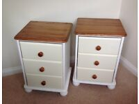 Pair Shabby Chic Bedside Country Style Cabinets/Chests Farrow & Ball Painted