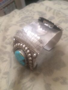 Turquoise/silver watchband/genuine hand crafted by Navajo