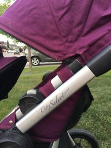 City select double stroller purple with second seat