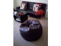 Bean Bag Chair - Bazaar® Luxury Faux Leather Panelled (Extra large) - BLACK - Used LIKE NEW!!!
