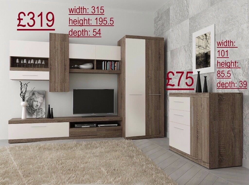 Wall Unit Tv Stand Shelves Wardrobe Desk Office Children Bedroom Furniture Free Delivery