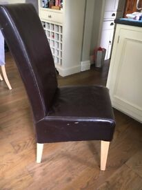 Dinning Chairs - 6 to Sell - Made by Morris Group Furniture - Brown Leather/PVC and wooden Legs