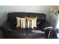 Two Leather Two Seater Sofas Excellent Condition with Fire Retardent Certificates.