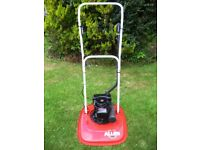 "British Made Allen 218 Petrol 18"" Hover Lawnmower In Very Good Working Order Like Flymo Mower"