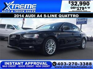 2014 Audi A4 S-line Quattro $179 Bi-Weekly APPLY NOW DRIVE NOW