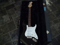 Fender Squier Stratocaster electric guitar Black with pearl scratchplate