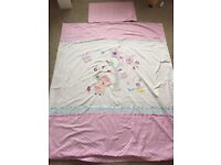Cot bed duvet cover and pillow case