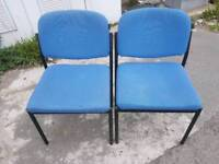 Chairs - Black Metal Frame and Blue Fabric Stackable Chairs