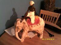 large chalk elephant and mahoot