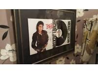 Michael Jackson signed bad album framed
