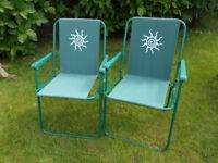 2 x Folding Garden/Patio/Camping Chairs