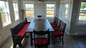 Harvest Table with 6 chairs and bench