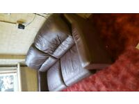 Leather 3 seater sign of wear but still very comfortable