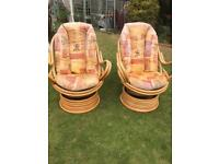 Pair cane rocking swivel chairs ( can deliver )