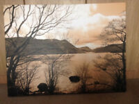 Large Canvas Print 102 cm x 76 cm. Ullswater, Lake District in sepia brown.