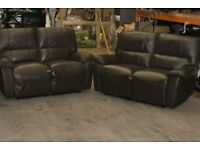 2 two seater leather reclining sofas