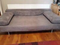MUJI sofa bed grey faux suede