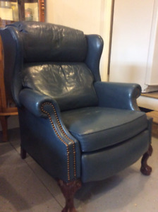 Blue Reclining Leather Chair