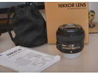Nikon AF-S 50mm f/1.8G Lens . & Nikon Caps and lens Hood.