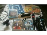 playstation 3 move controler + camera and harry potter wonderbook, and move games sing mics