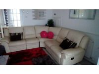 Leather corner sofa with two recliners, cream, excellent condition
