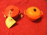 Le Creuset Petite Round Pottery Casserole Cerise and a copy