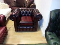 brand new condition ox blood leather chesterfield club chair.