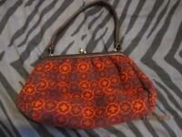 VINTAGE PATTERNED TAPESTRY RUSTIC BURNT ORANGE COLOUR HANDBAG WELSH MADE IN THE 60s MAYBE